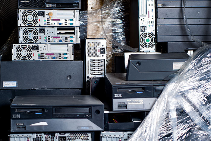 Piles of computers and electronics